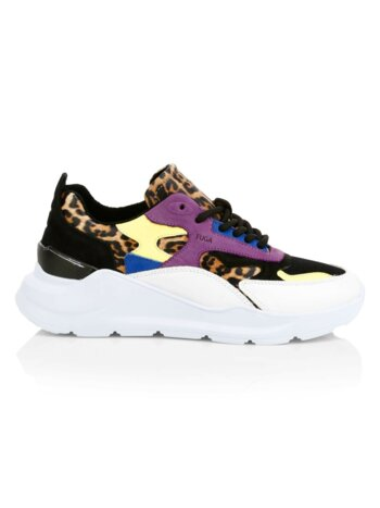 Fuga Leopard-Print Leather Chunky Sneakers