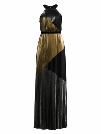 Metallic Sunburst Pleated Halter Gown