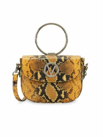 Lunette Python-Embossed Leather Crossbody Bag