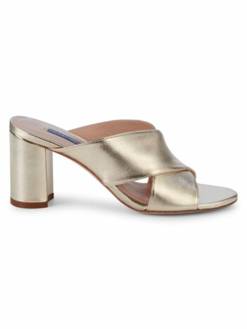 Galene Metallic Leather Block-Heel Sandals