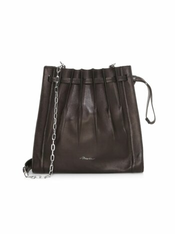 Florence Pleated Drawstring Leather Bucket Bag