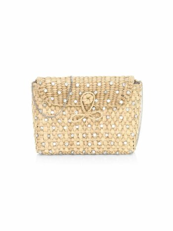 The Denise Embellished Straw Box Clutch