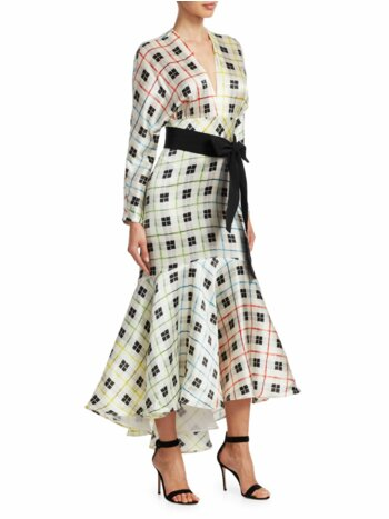 Angelena Printed Stretch Silk Mermaid Midi Dress