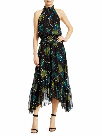 Kaia Floral Fil Coupe Midi Dress