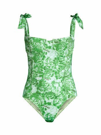 Recyled Fabric Rose-Print One-Piece Swimsuit