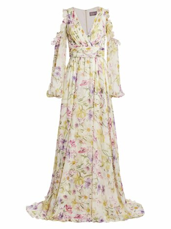 Floral Cold-Shoulder Chiffon Gown