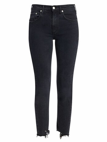 Toni Mid-Rise Distressed-Hem Ankle Slim Jeans
