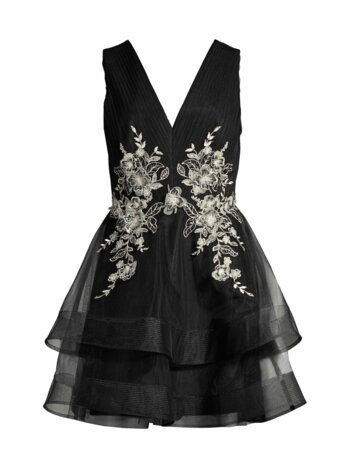 Tulle Embroidered Tiered Dress