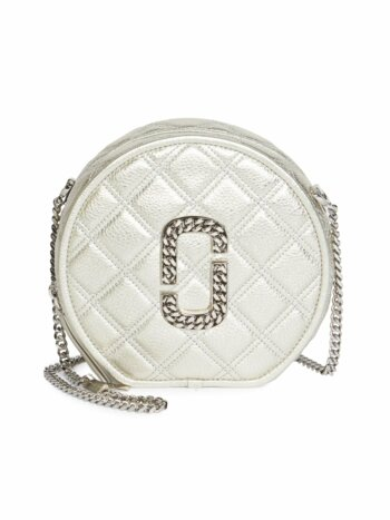 Naomi Metallic Leather Circle Crossbody Bag