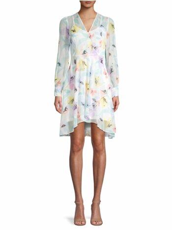 Floral Chiffon Wrap Shirtdress