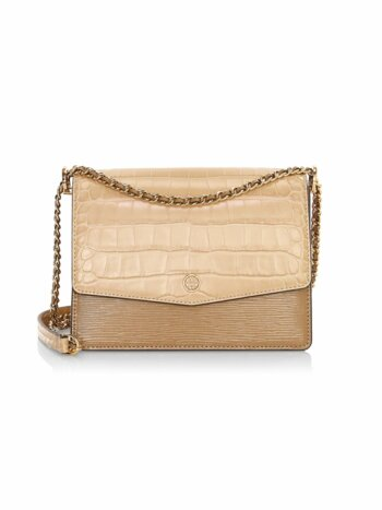 Robinson Crocodile-Embossed Leather Shoulder Bag