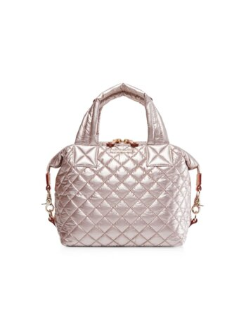 Small Sutton Quilted Nylon Satchel