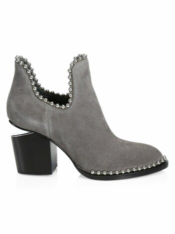 Gabi Cutout Studded Suede Ankle Boots