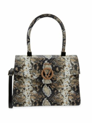 Melanie Python-Embossed Leather Satchel