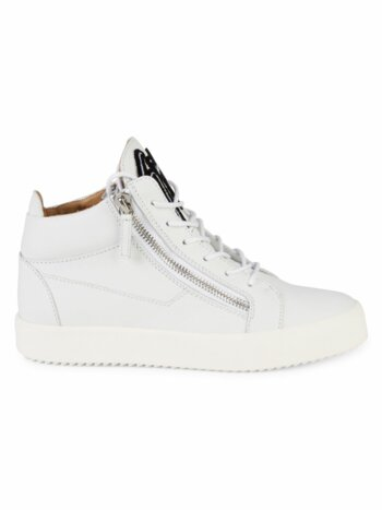 Logo Mid-Top Leather Sneakers