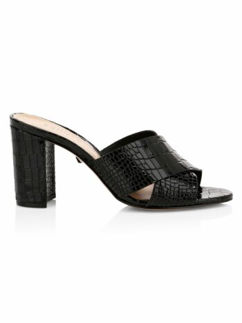 Renna Crocodile-Embossed Leather Mule Sandals