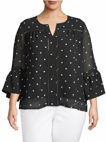 Plus Bell-Sleeve Polka Dot Blouse