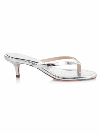 Ivone Croc-Print Metallic Kitten-Heel Sandals