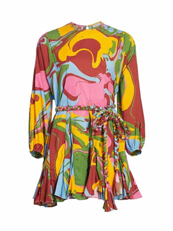 Abstract Tie Pleated Mini Dress
