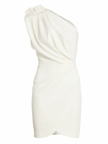 Marine One-Shoulder Faux Wrap Sheath Dress