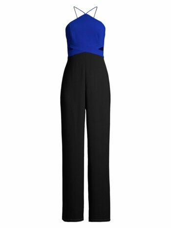 Cutout Colorblock Crepe Jumpsuit