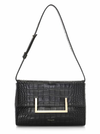 Biarritz Croc-Embossed Leather Shoulder Bag