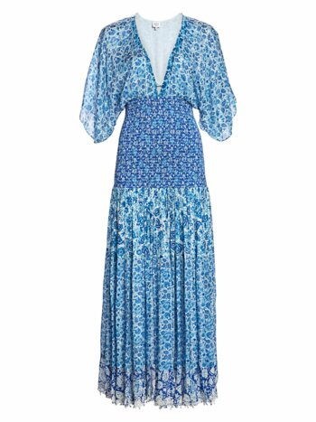 Paisley Kimono-Sleeve Drop-Waist Pleated Dress