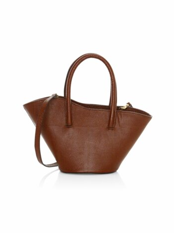 Micro Tulip Lizard-Embossed Leather Tote