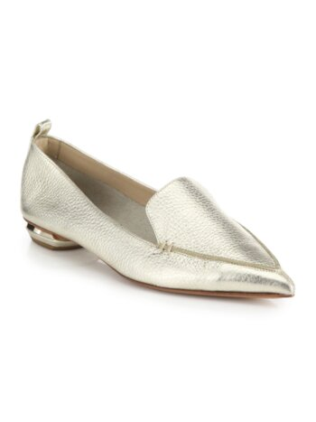Bottal Metallic Leather Point Toe Loafers