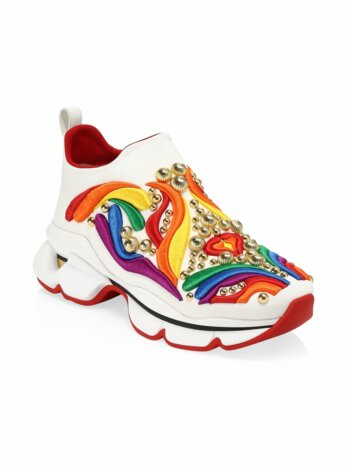 Donna Space Sock Rainbow Embroidered Sneakers