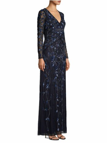 Beaded Illusion Long-Sleeve Gown