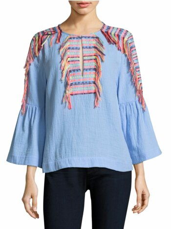 Embroidered Tassel Chambray Blouse
