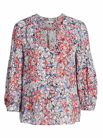 Marie Floral Puff-Sleeve Silk Blouse