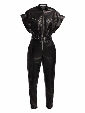 Moreno Short-Sleeve Leather Jumpsuit