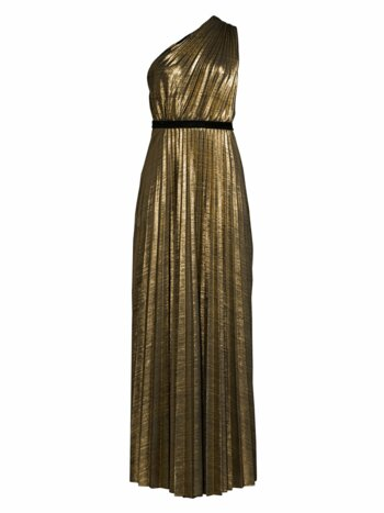 Metallic One-Shoulder Pleated Dress