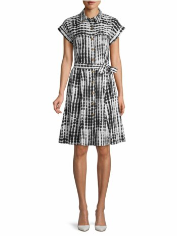 Abstract Short-Sleeve Shirtdress