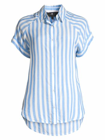 Striped Cap-Sleeve Collared Shirt