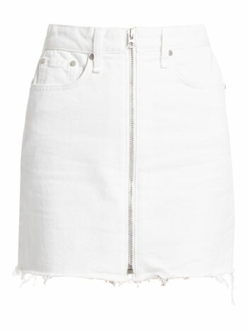 Anna Raw Hem Zip Denim Skirt