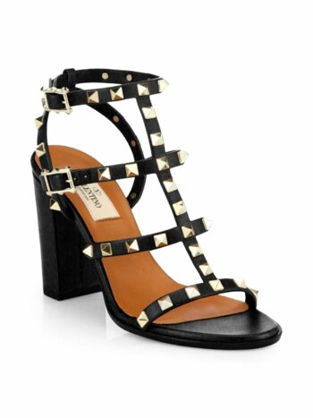 Rockstud Leather T-Strap Block Heel Sandals