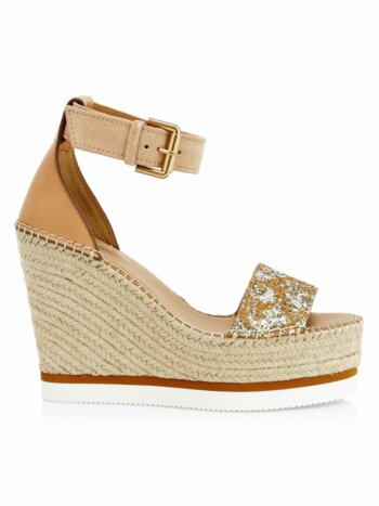 Glyn Glitter Leather Wedges