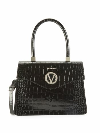 Melanie Croc-Embossed Leather Top Handle Satchel