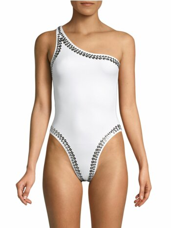 Studded One-Shoulder One-Piece Swimsuit