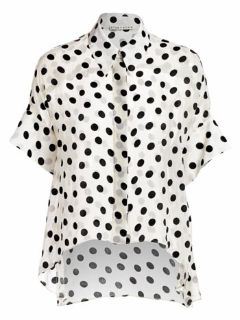 Edyth Polka Dot High-Low Blouse