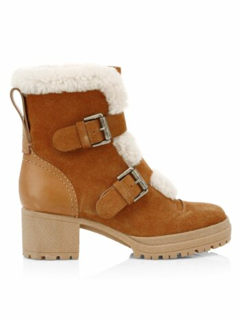 Shearling-Lined Suede Booties