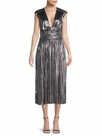 Briella Metallic Pleated Dress