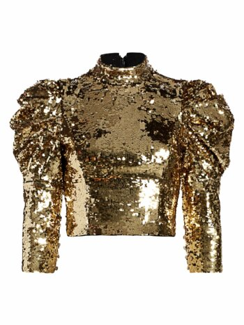 Brenna Sequin Puff-Sleeve Crop Top