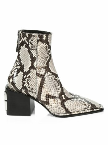 Parker Square-Toe Snakeskin-Embossed Leather Ankle Boots