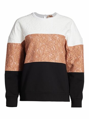 Colorblock Lace Pullover