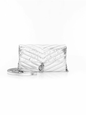 Edie Quilted Metallic Leather Wallet-On-Chain
