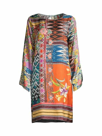 Luna Floral Mix-Print Silk Shift Dress